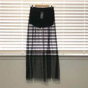 Nasty Gal Black Mesh Sheer Skirt With Shorts